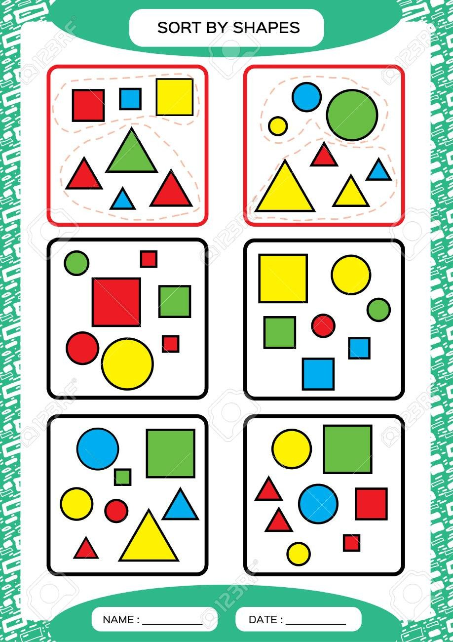 Sorting Shapes Worksheets sort by Shapes sorting Game Group by Shapes Square Circle Triangle