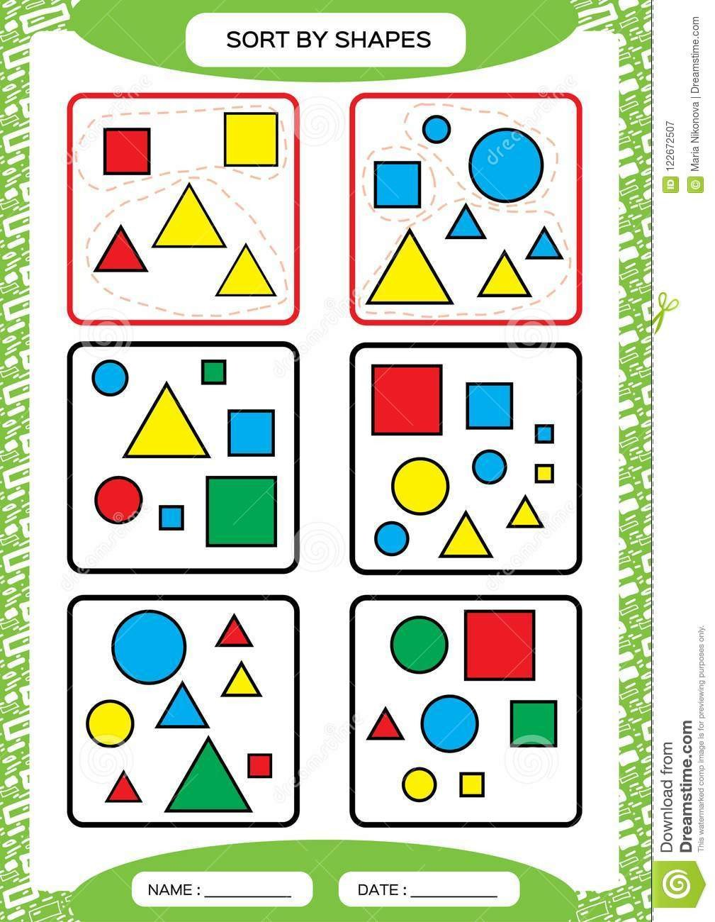 Sorting Shapes Worksheets sort by Shapes sorting Game Group by Shapes Square