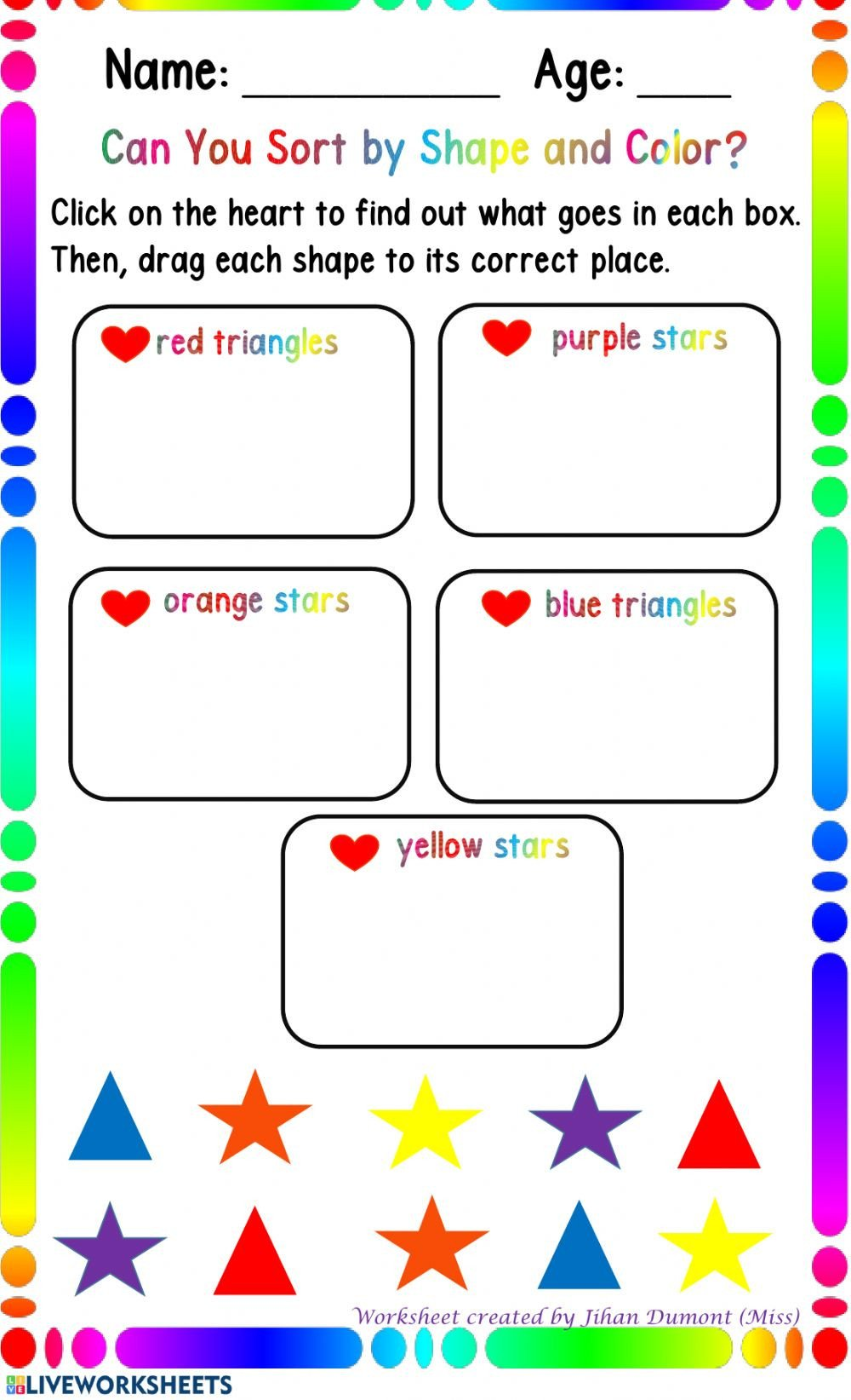 Sorting Shapes Worksheets sorting by Color and Shape Interactive Worksheet
