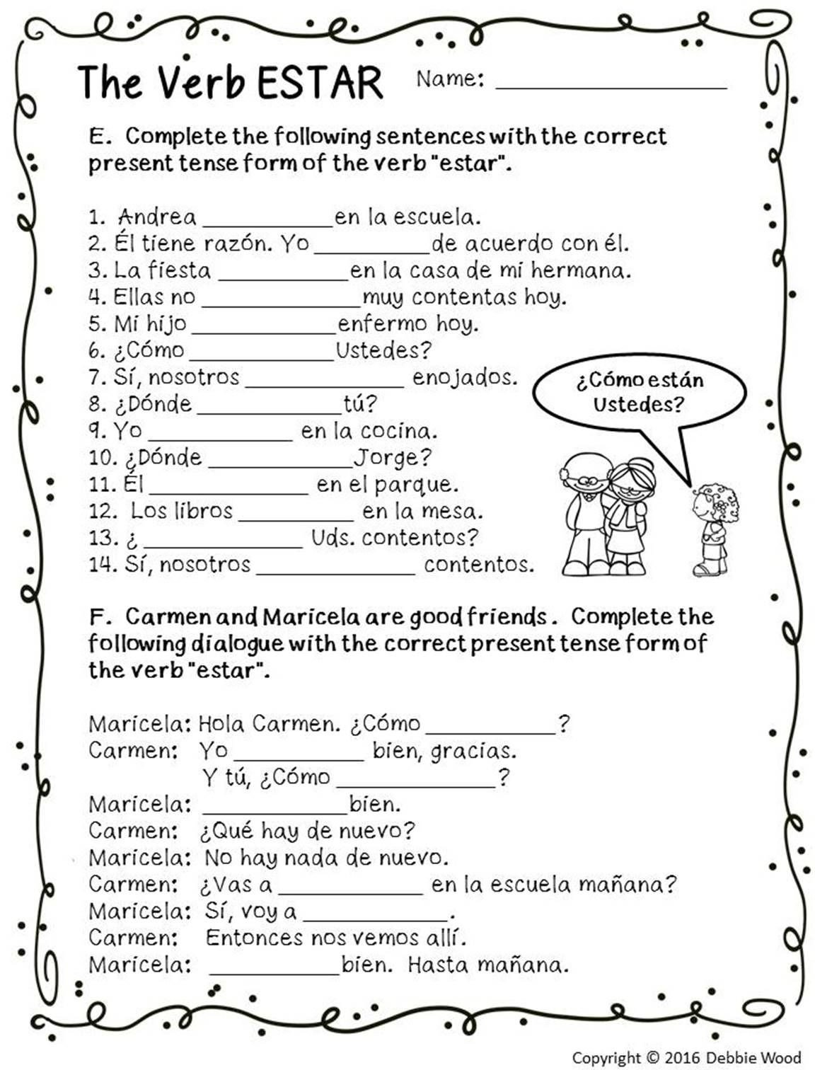 spanish estar with emotions spanish worksheets spanish