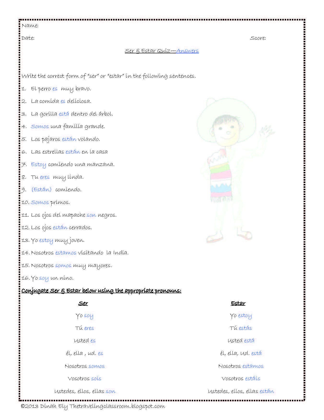 Spanish Verb Conjugation Worksheets Printable Spanish Verbs Ser Estar Tener Vivir Er & tomar