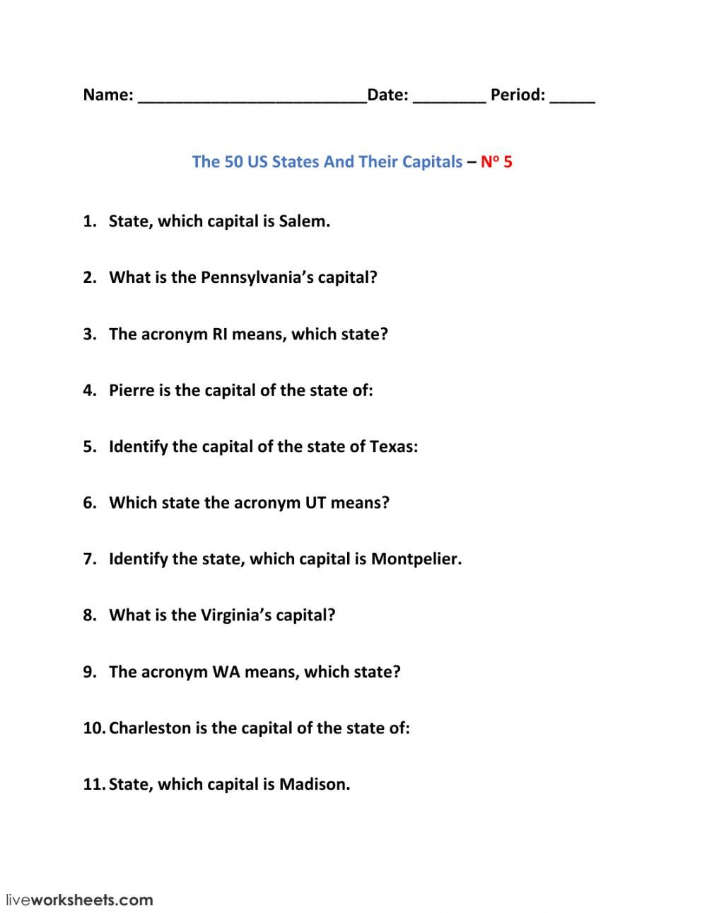 The 50 US States And Their Capitals – No 5 xo9765ie