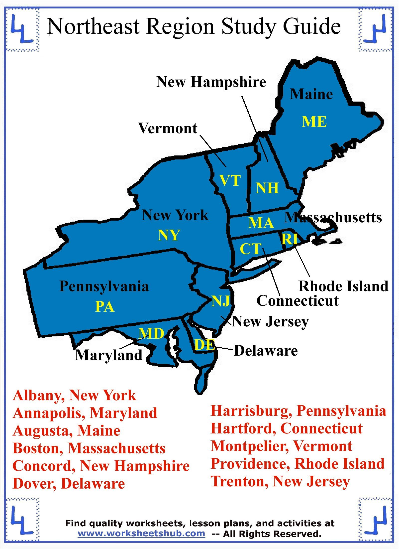 States and Capitals Quiz Worksheet Fourth Grade social Stu S northeast Region States and