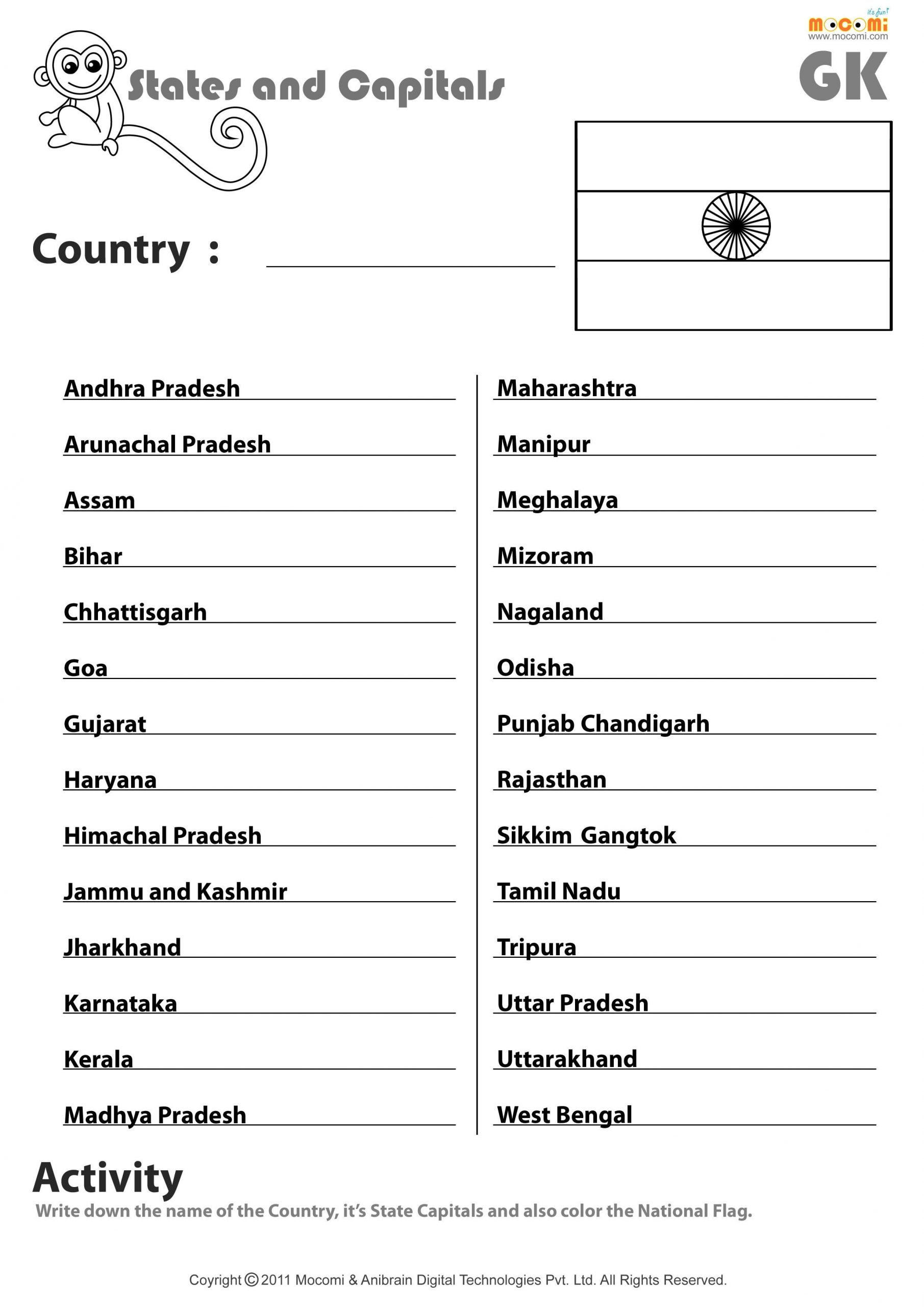 States and Capitals Quiz Worksheet Indian States and their Capitals English Worksheets for