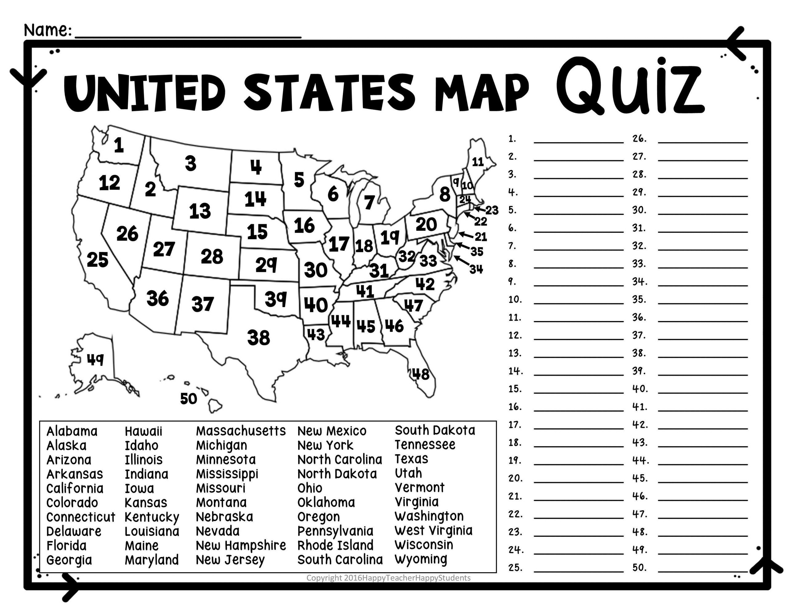States and Capitals Quiz Worksheet Printable Us State Map Blank Blank Us Map Quiz Printable at