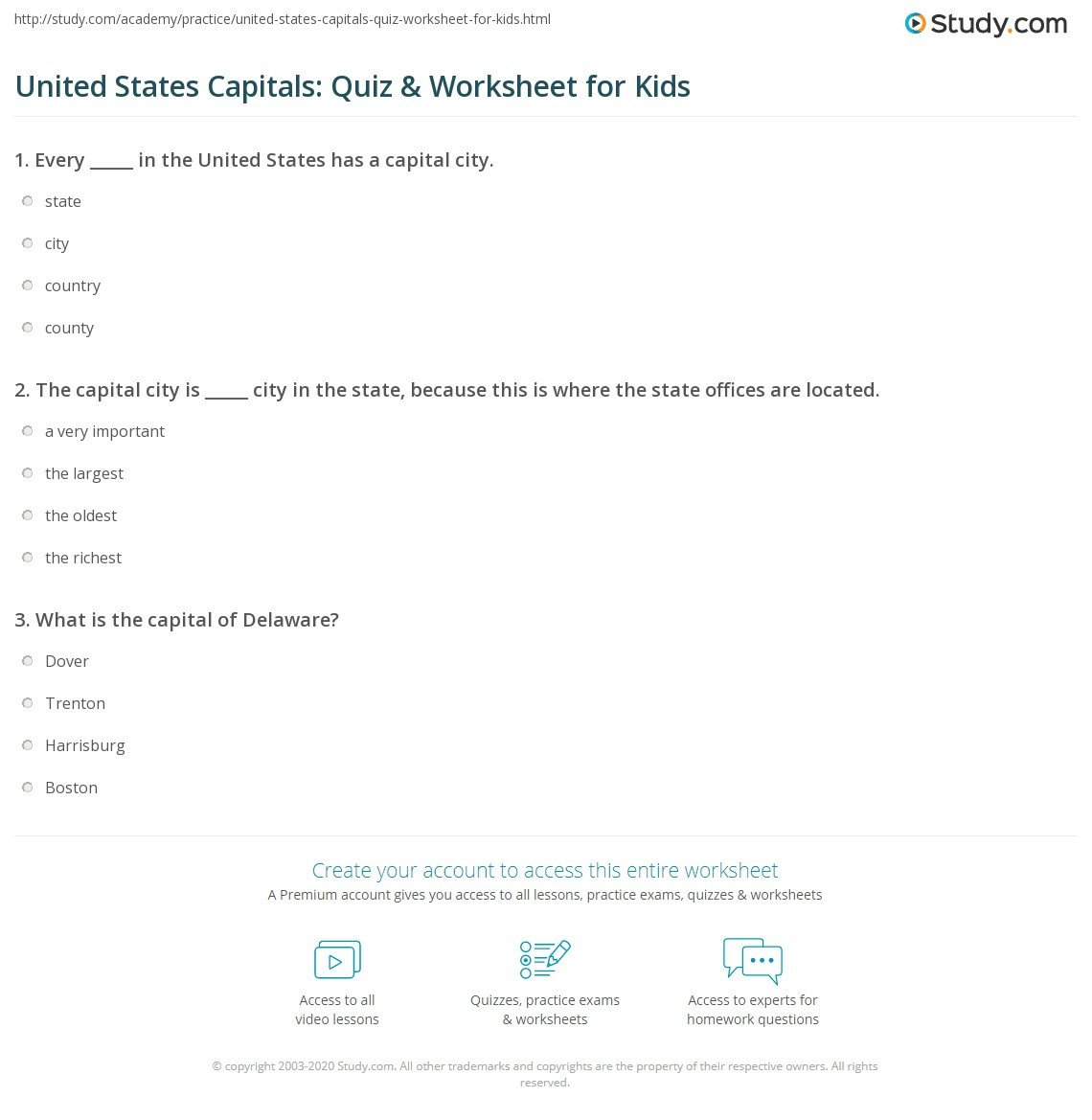 States and Capitals Quiz Worksheet State Capital Quiz Worksheet