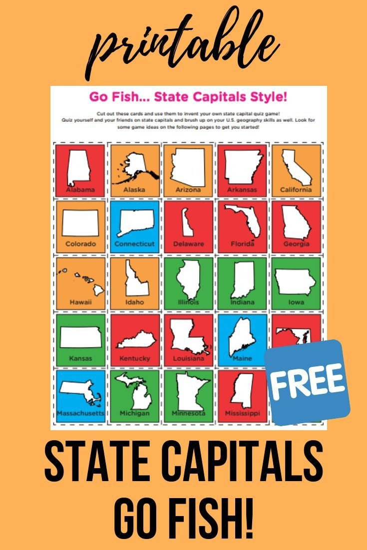 States and Capitals Quiz Worksheet State Capitals Go Fish Worksheet Education