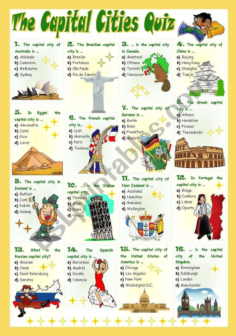 States and Capitals Quiz Worksheet the Capital Cities Quiz Esl Worksheet by Mariaolimpia