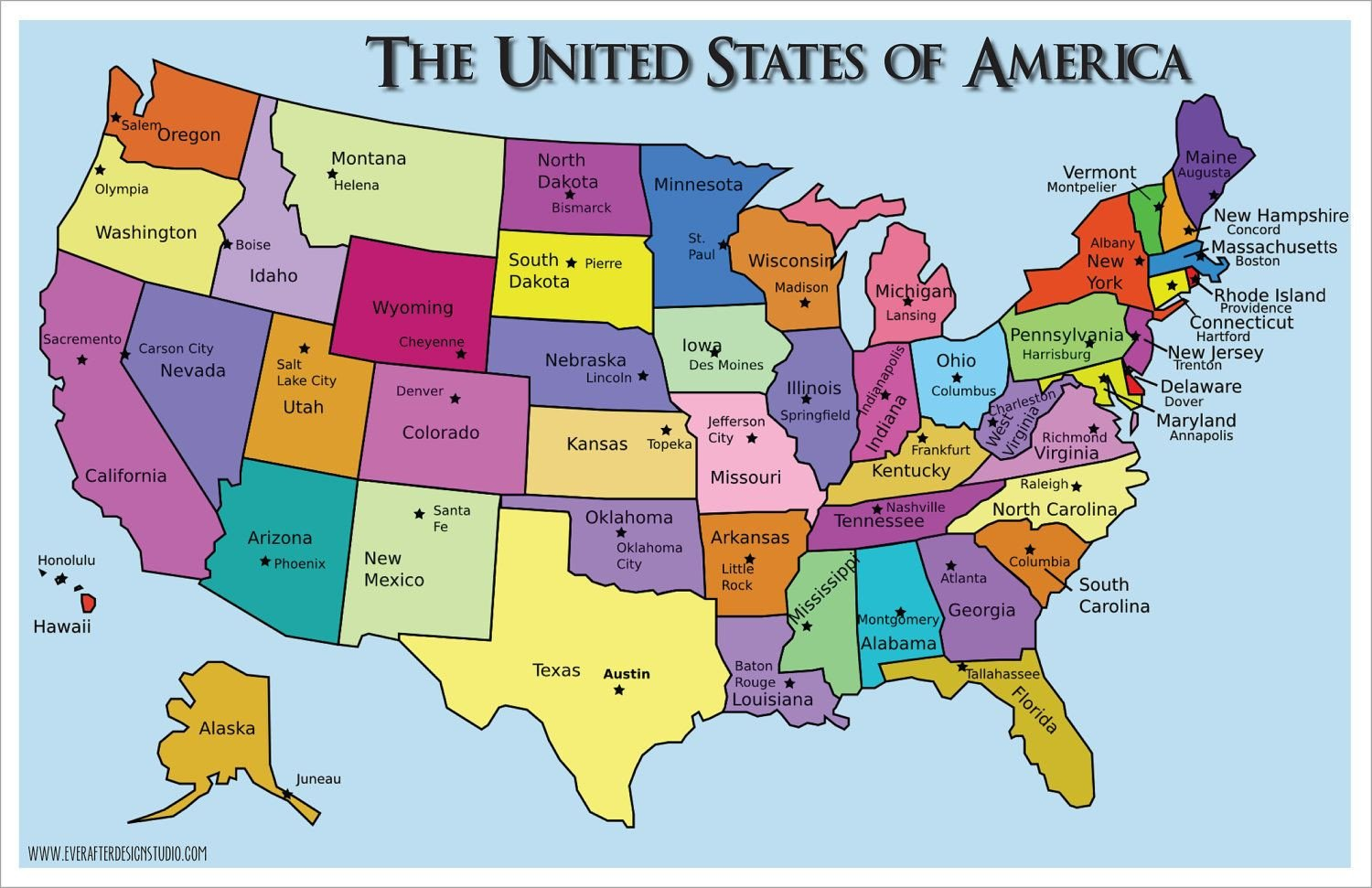 States and Capitals Quiz Worksheet Us Map with States and Capitals Printable