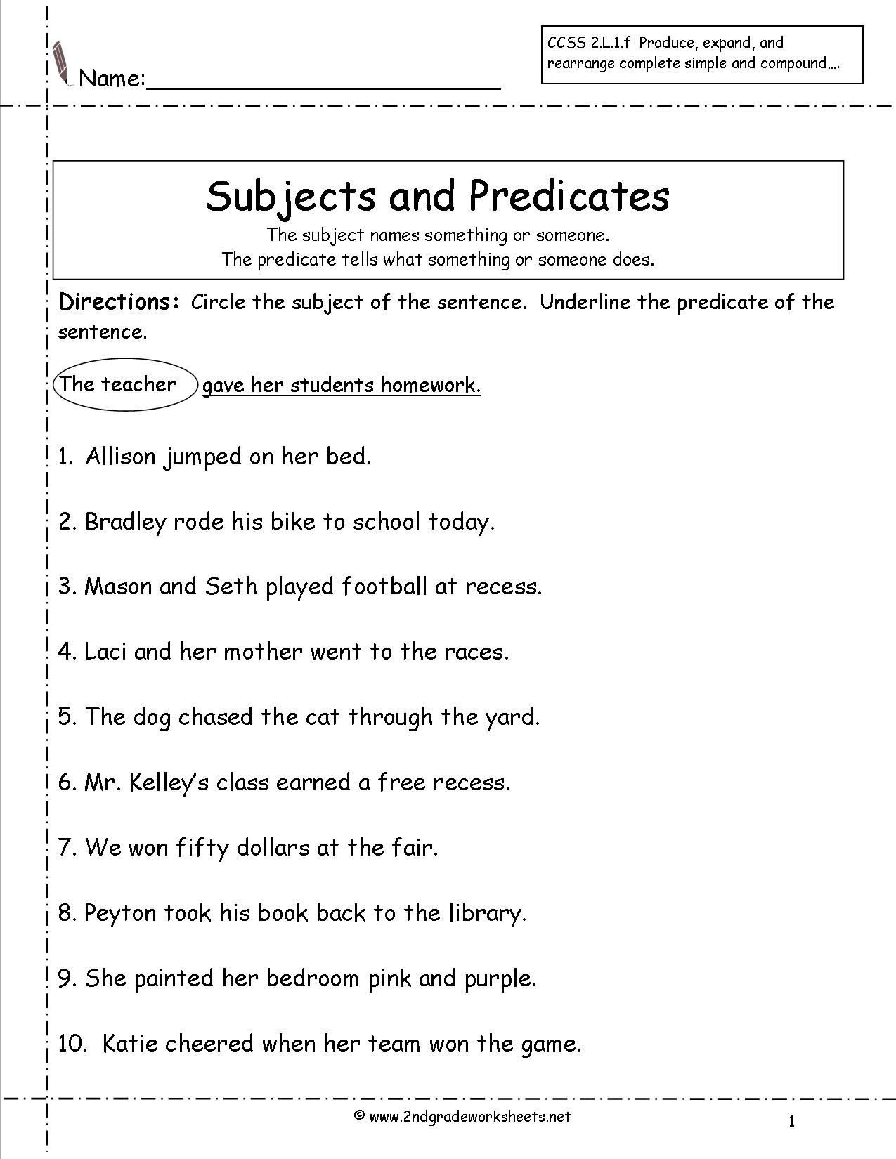 subject predicate worksheets 2nd grade Google Search