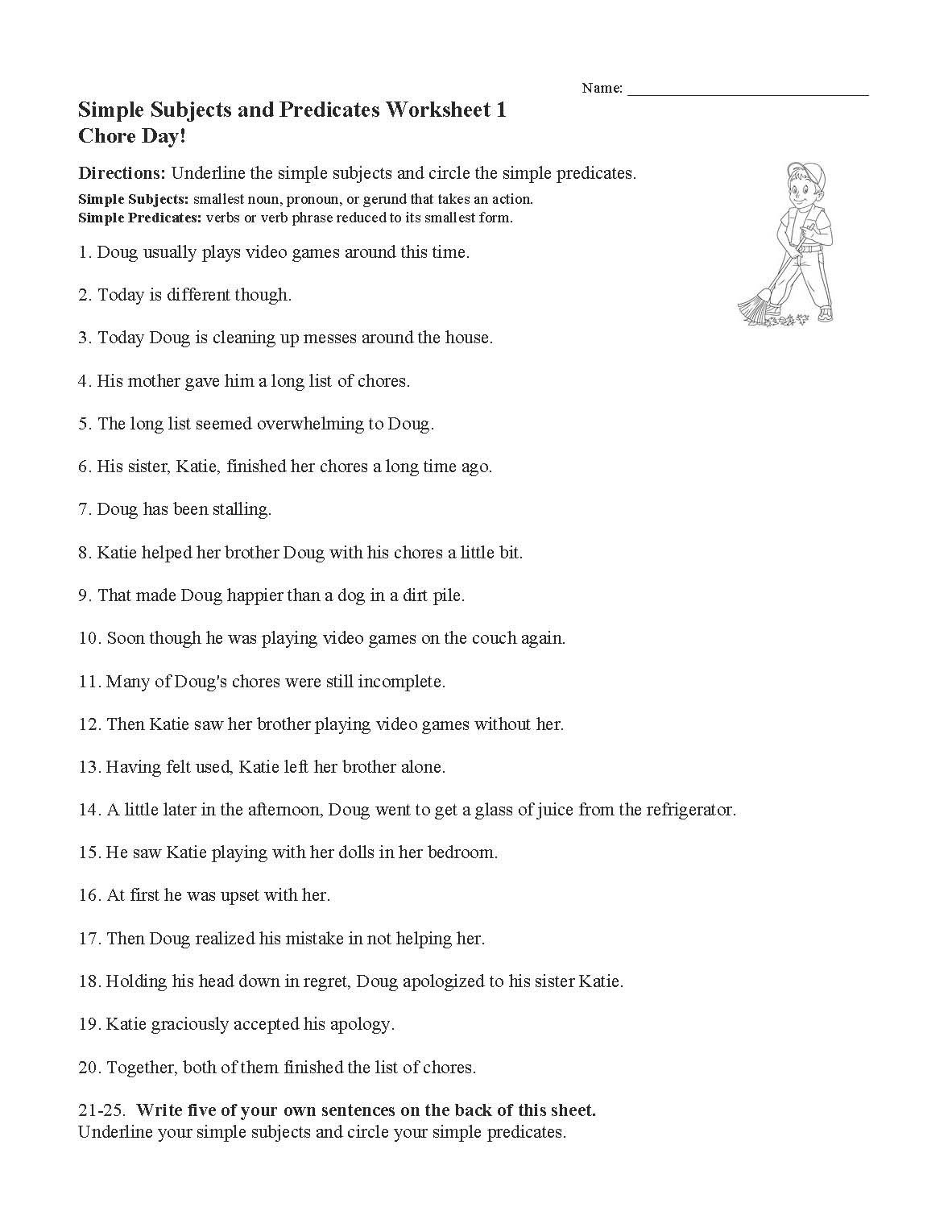 Subject Predicate Worksheet 6th Grade Identifying Shapes Worksheets Free Recycling Worksheets Year