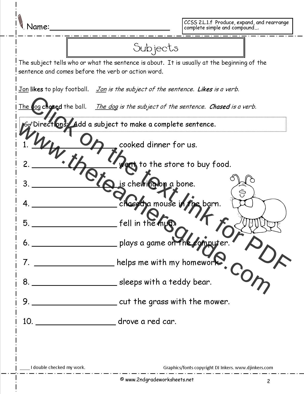 Subject Predicate Worksheet 6th Grade Second Grade Sentences Worksheets Ccss 2 L 1 F Worksheets