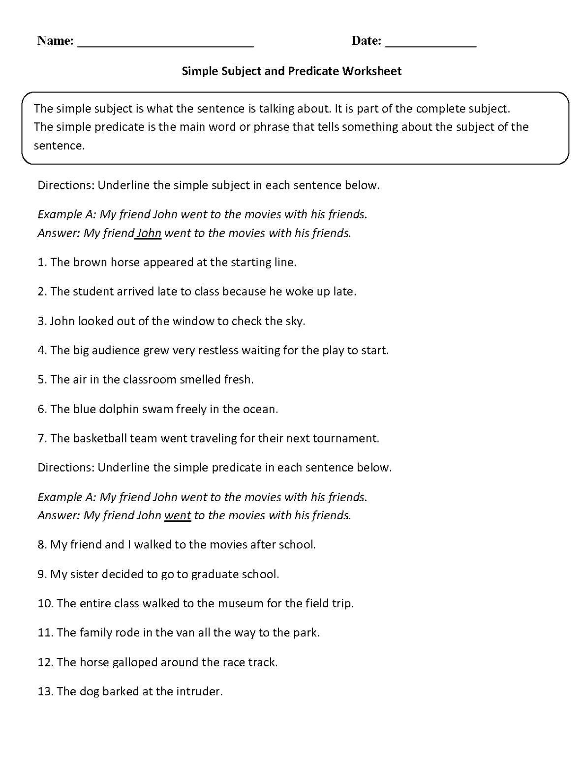 Subject Predicate Worksheet 6th Grade Simple Subject and Predicate Worksheet In 2020