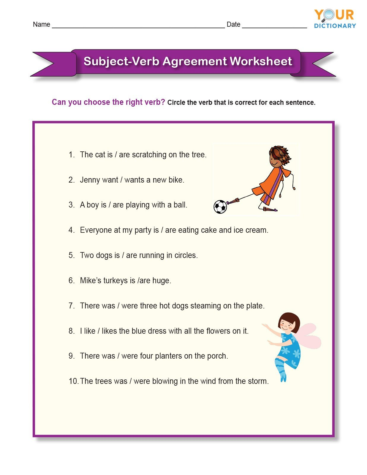elementary subject verb agreement worksheetse