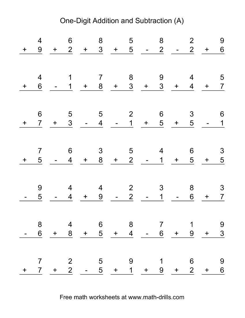 Subtraction Worksheets 1st Grade Single Digit A