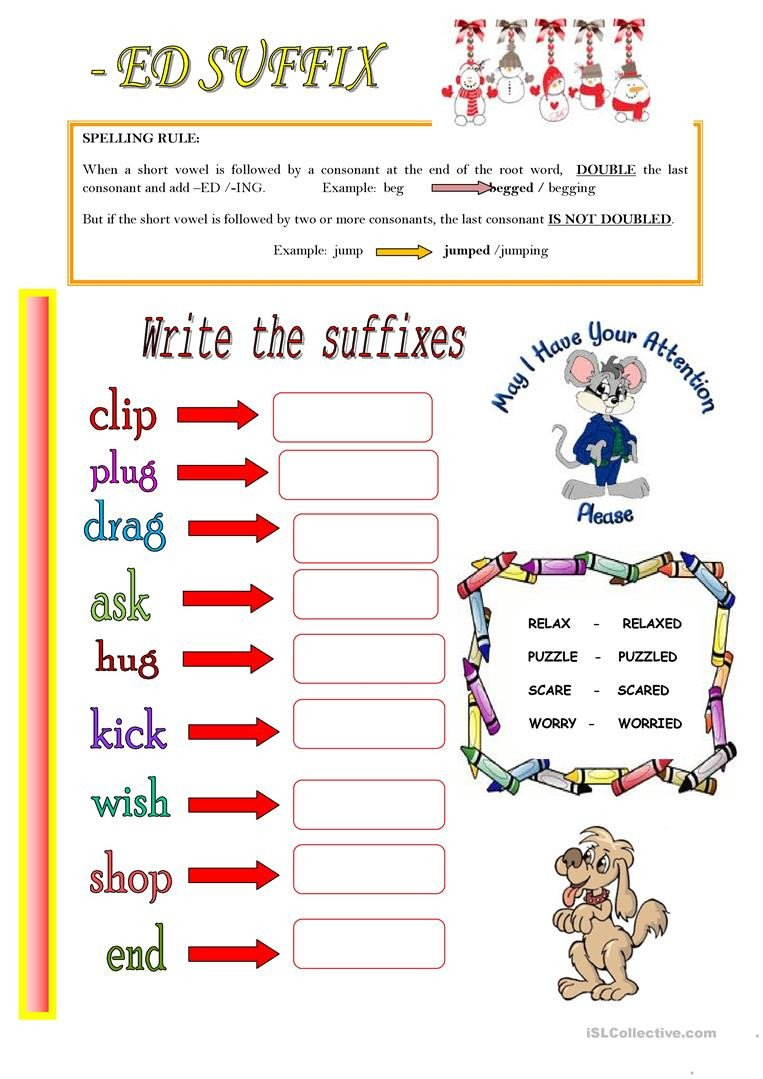 ED SUFFIX English ESL Worksheets for distance learning and