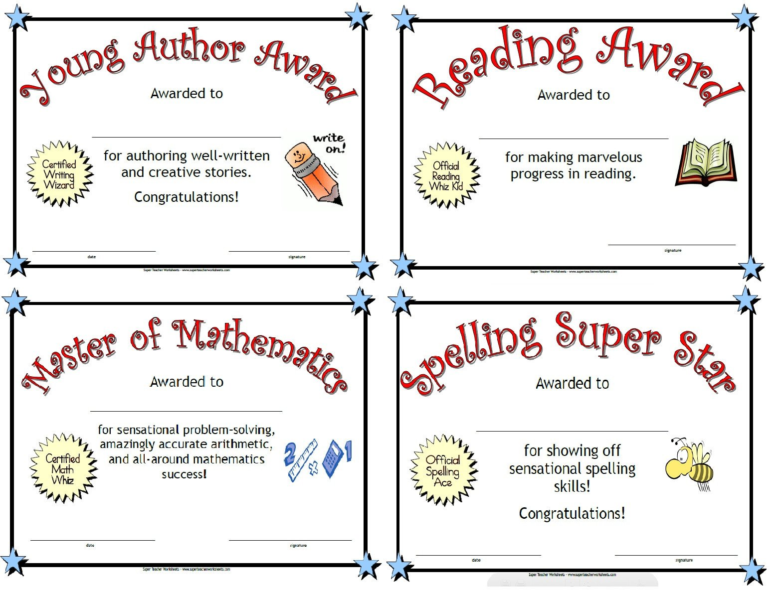 Super Teacher Worksheets Free Account Award Certificates for Kids