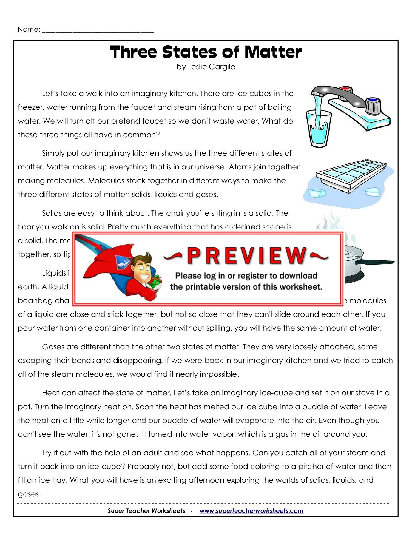 Superteacher Worksheets Login Name Three States Of Matter Super Teacher Worksheets