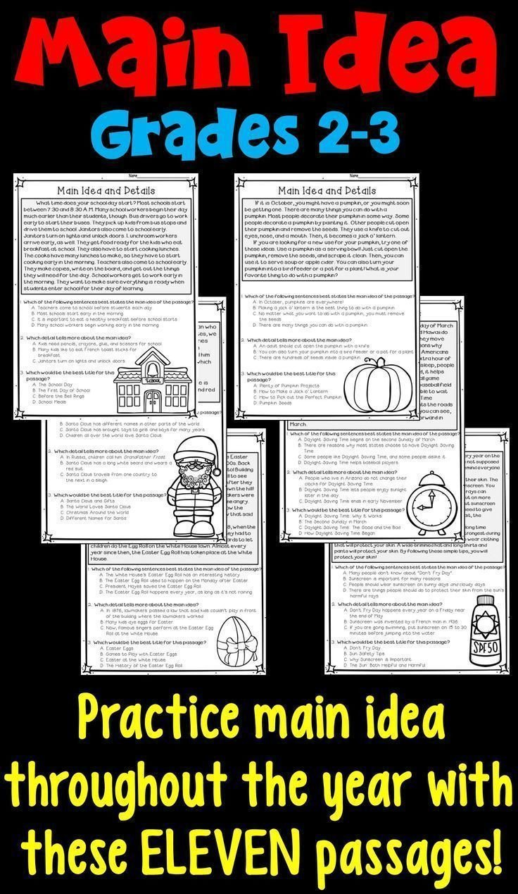 main idea and supporting details 11 monthly worksheets 3rd grade