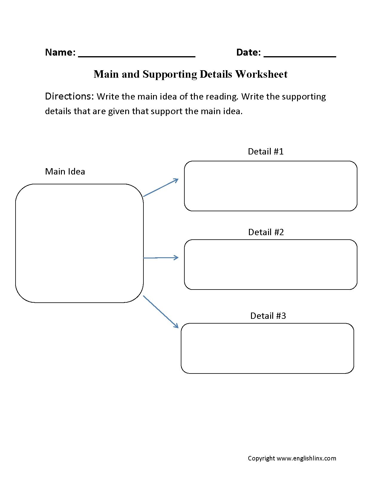 Supporting Details Worksheet Main Idea and Supporting Details Exercises