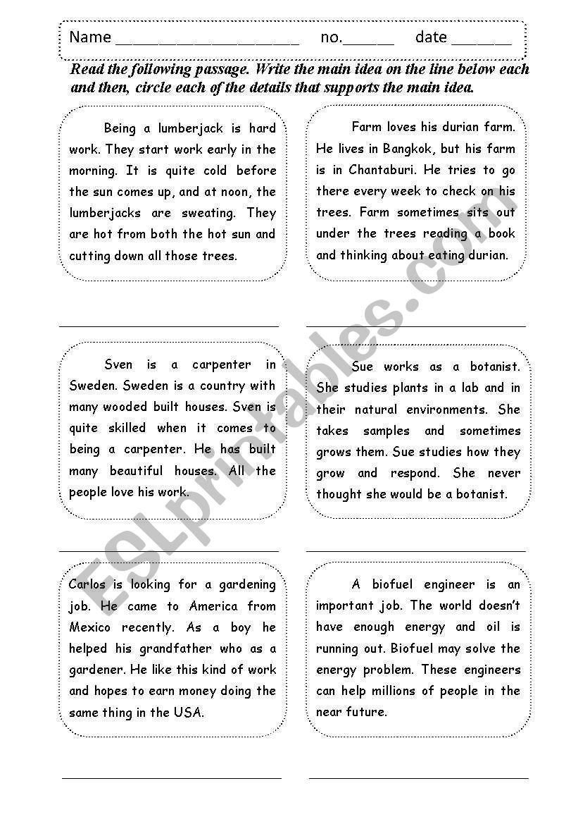 Supporting Details Worksheet Main Idea Supporting Details Esl Worksheet by Shamus