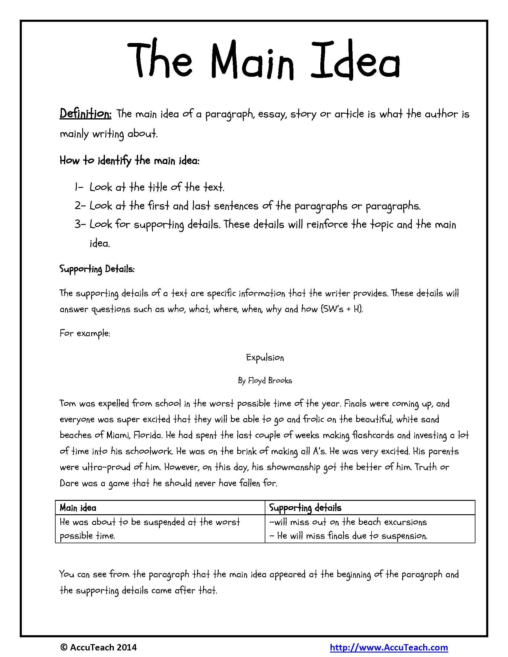 Supporting Details Worksheet Main Idea Supporting Details Worksheets