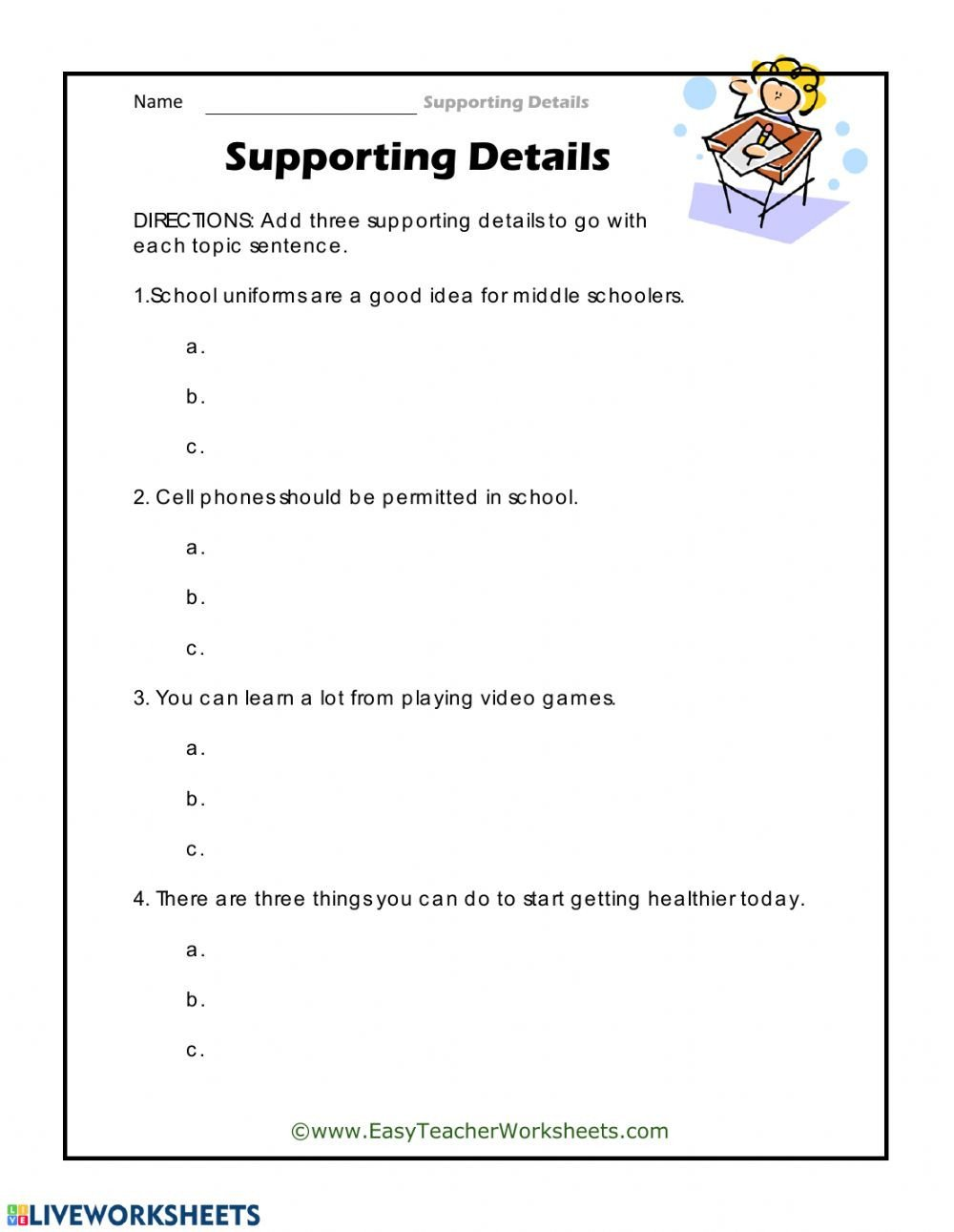 Supporting Details Worksheet Supporting Details Interactive Worksheet