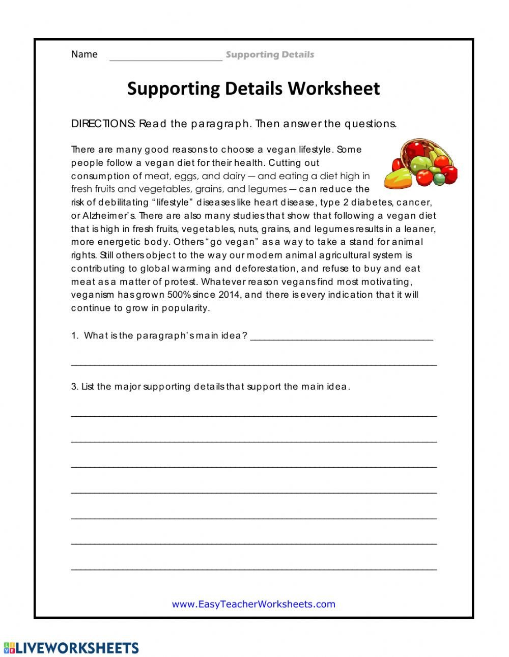 Supporting Details Worksheet Interactive worksheet