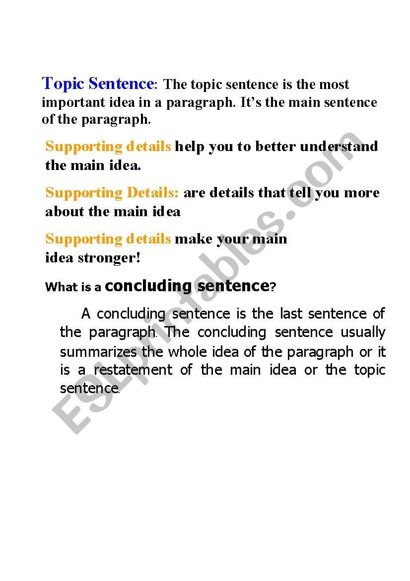 Supporting Details Worksheet topic Sentence and Supporting Details Esl Worksheet by