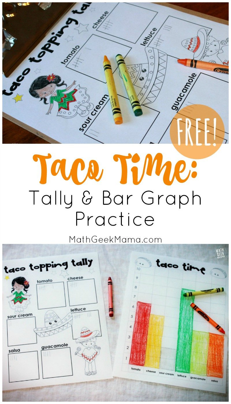 Tally Mark Worksheets for Kindergarten Free Taco Time Tally and Bar Graph Practice