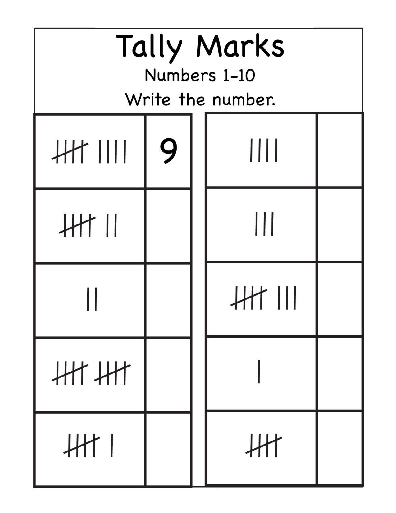 Tally Mark Worksheets for Kindergarten Kindergarten Tally Marks Worksheet