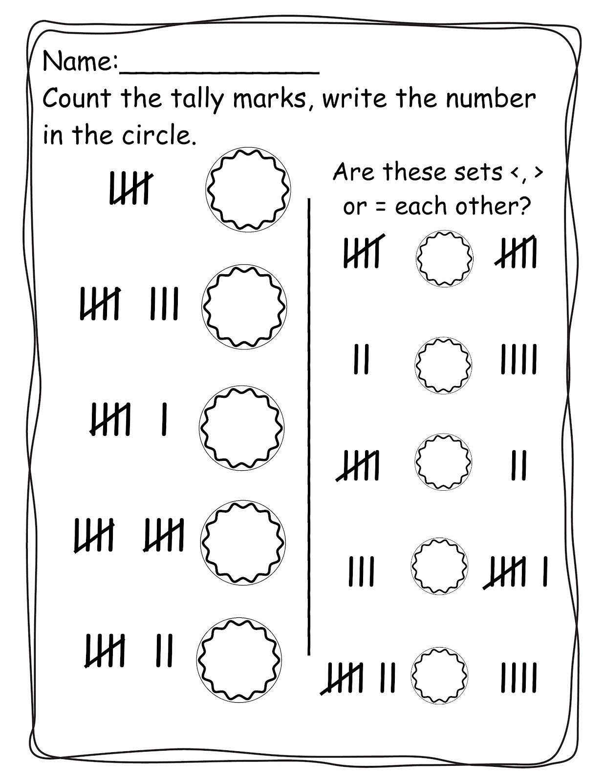 Tally Mark Worksheets for Kindergarten Pinterest Tally Mark Worksheets