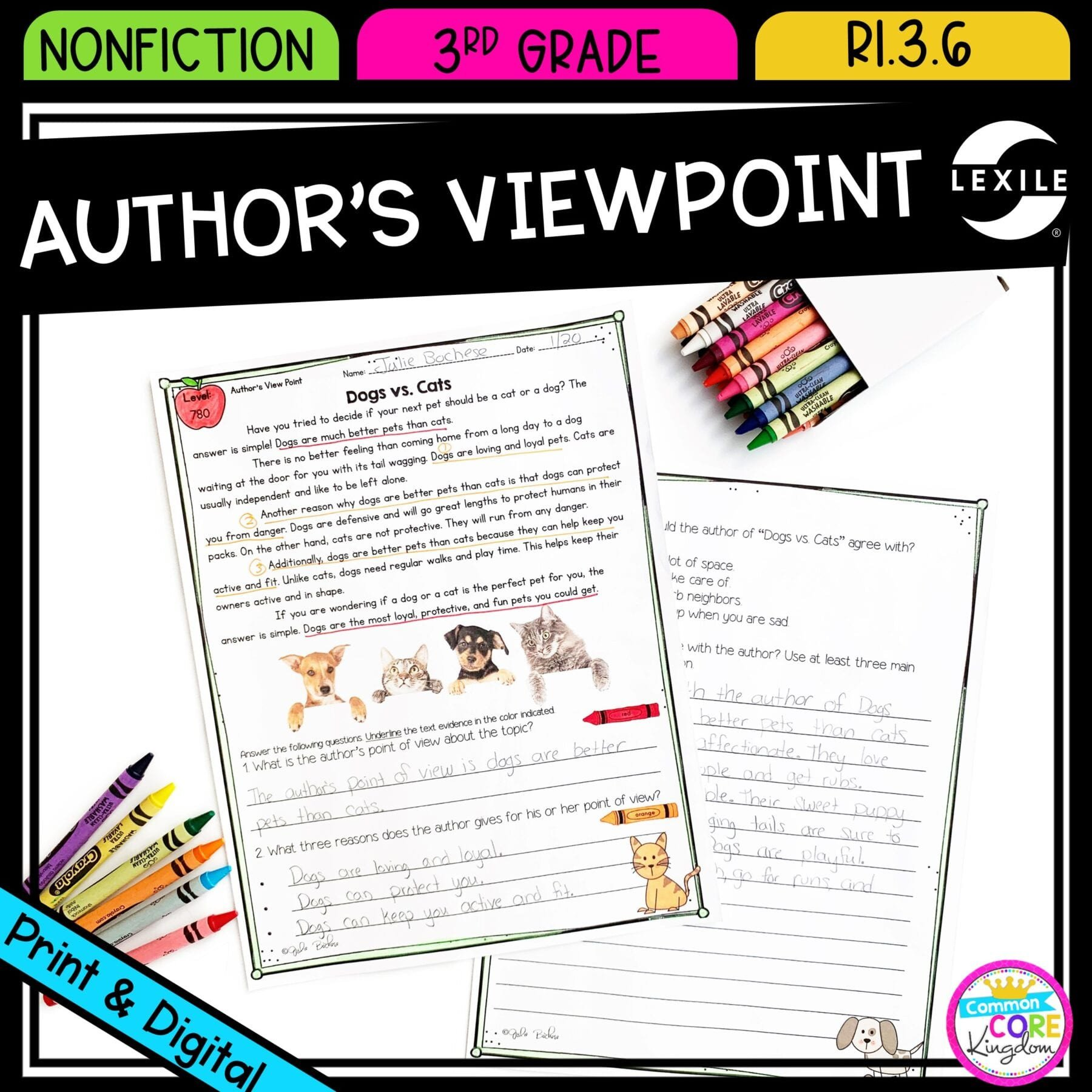 Text Evidence Worksheets 3rd Grade Author S Viewpoint In Nonfiction Ri 3 6 Printable & Digital Google Slides Distance Learning Pack