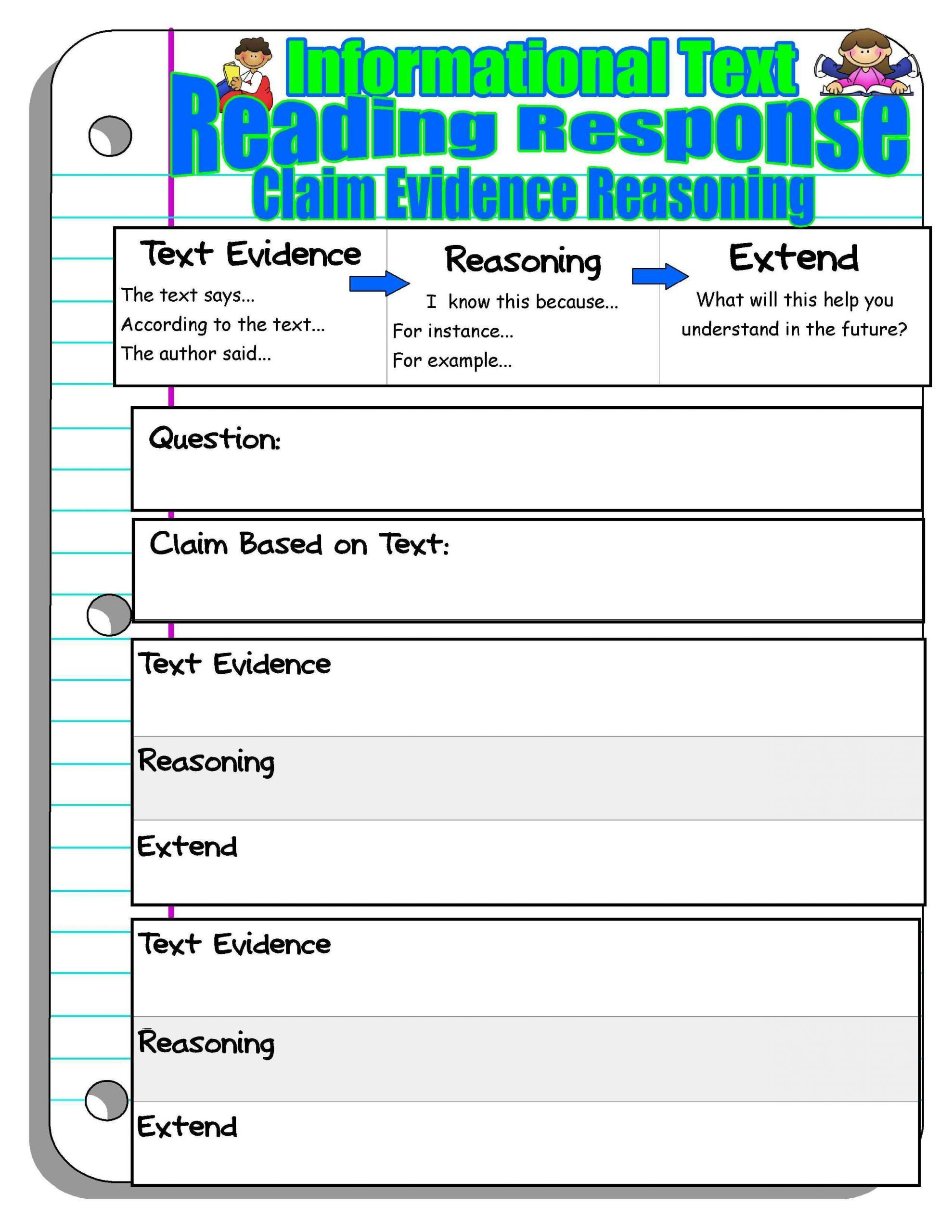 Text Evidence Worksheets 3rd Grade Claim Evidence Reasoning Worksheets
