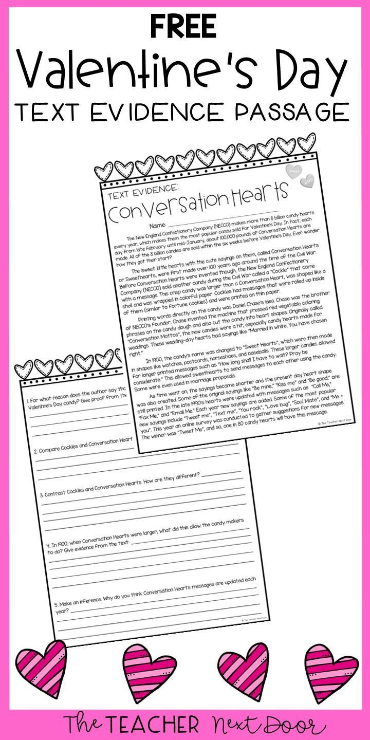 Text Evidence Worksheets 3rd Grade Freebie Text Evidence for Conversation Hearts In 2020