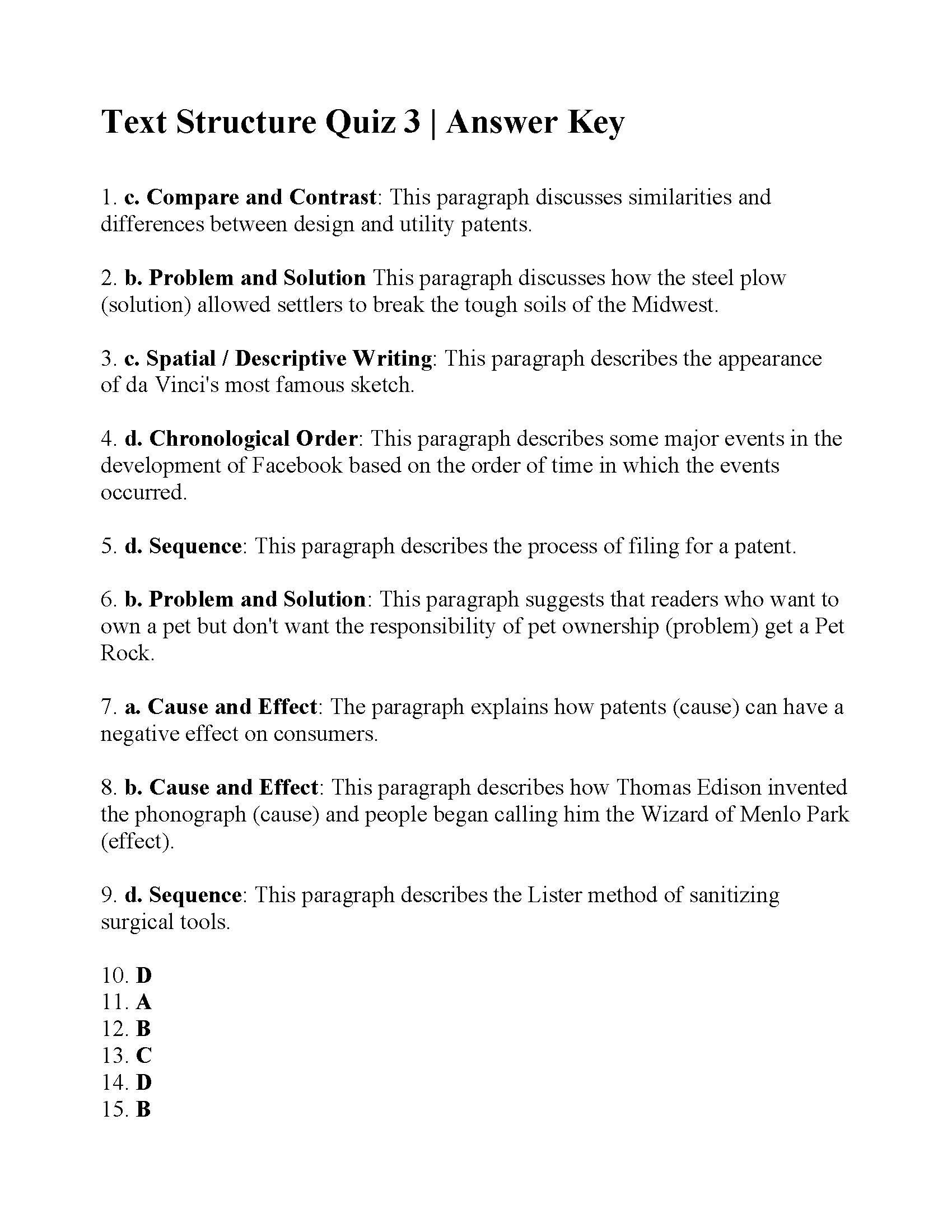 Text Structure Worksheets Grade 4 Text Structure Quiz Answers Ereading Worksheets Math Fact