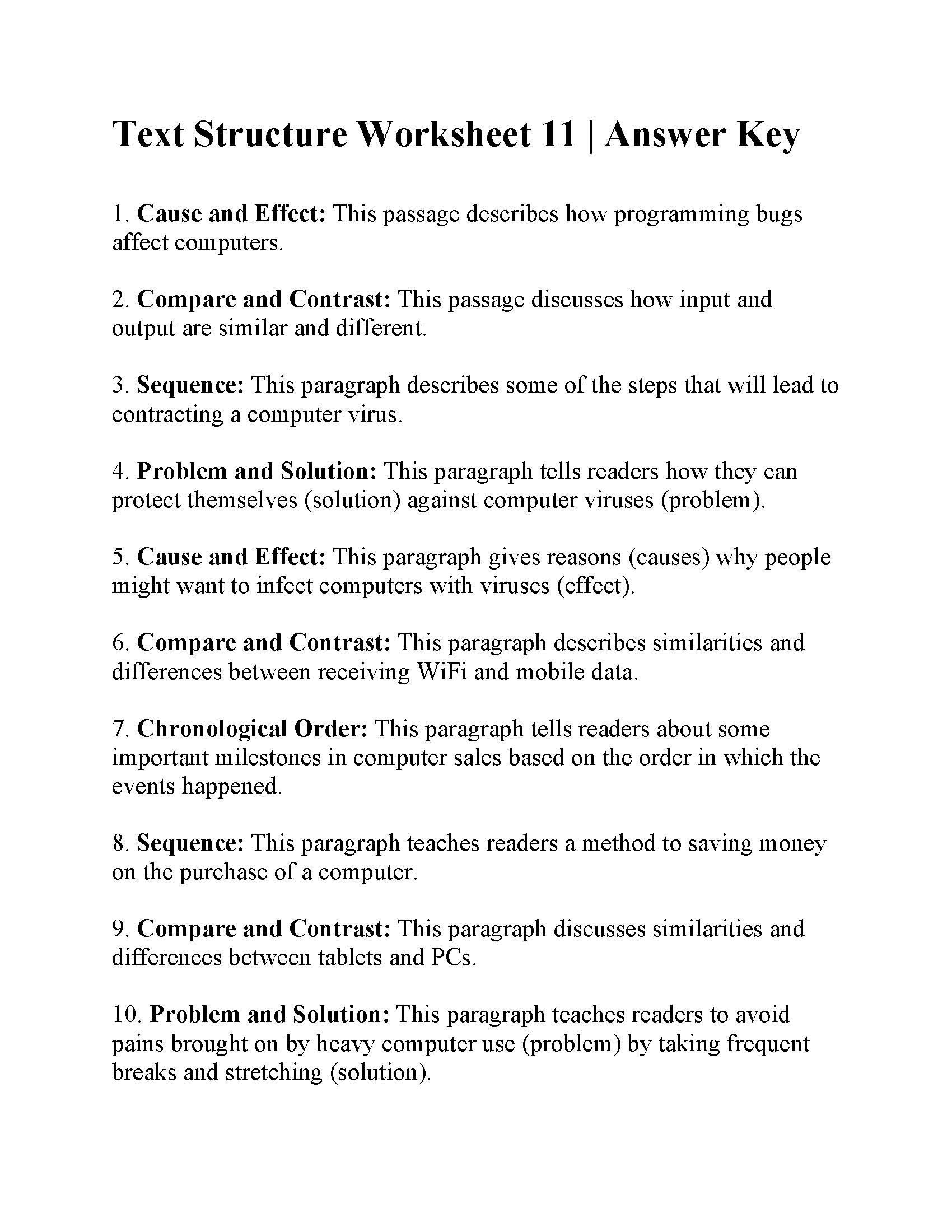 Text Structure Worksheets Grade 4 Text Structure Worksheet 11