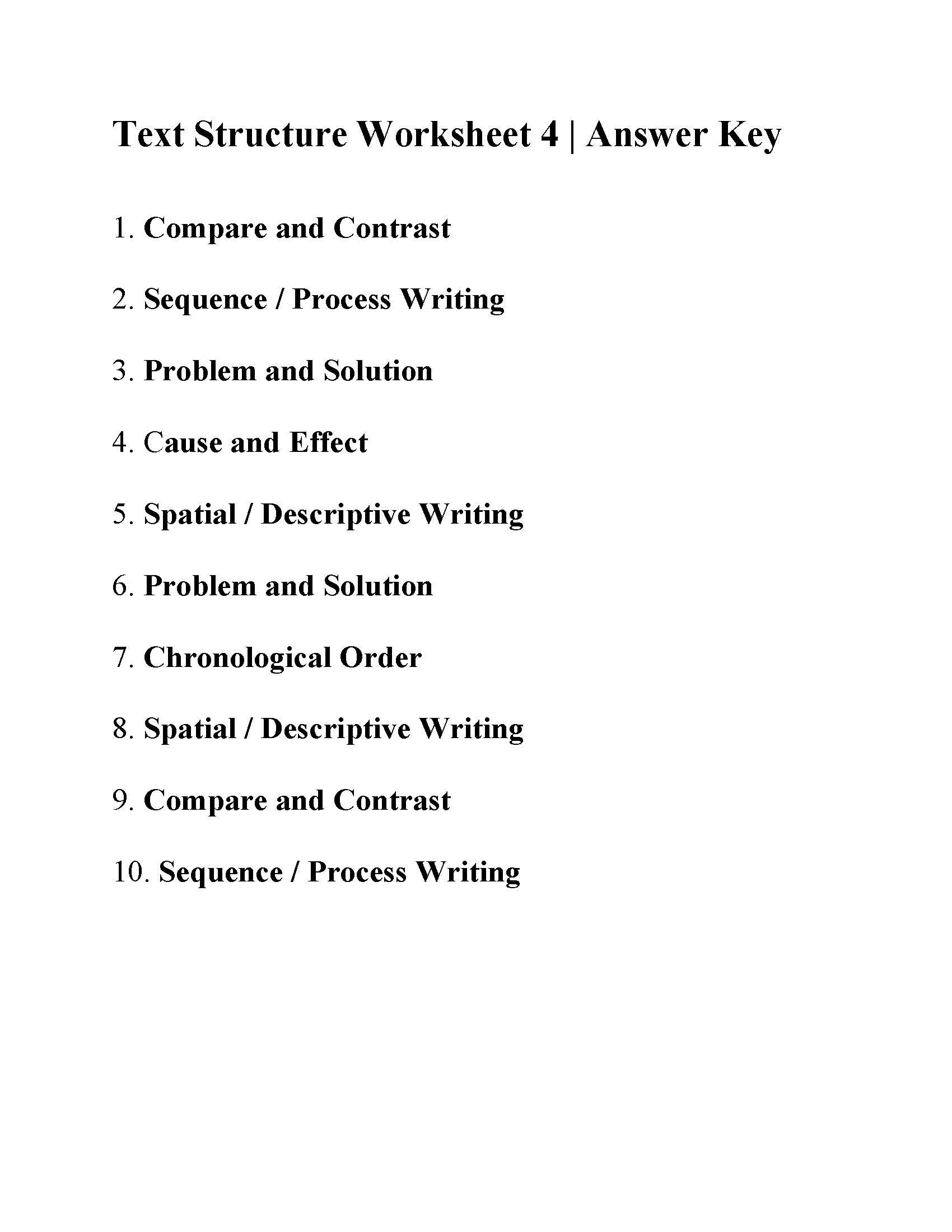 Text Structure Worksheets Grade 4 Text Structure Worksheet 4