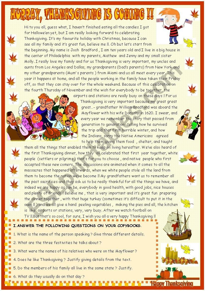 Thanksgiving Comprehension Worksheets Thanksgiving Reading Prehension Esl Worksheet by