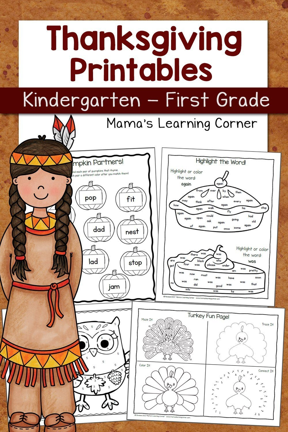 Thanksgiving Worksheets for K and 1st Revised