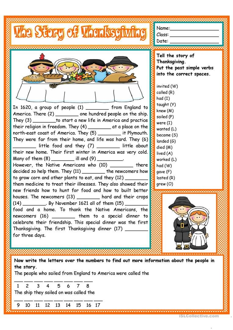 the story of thanksgiving fun activities games reading prehension exercis 1