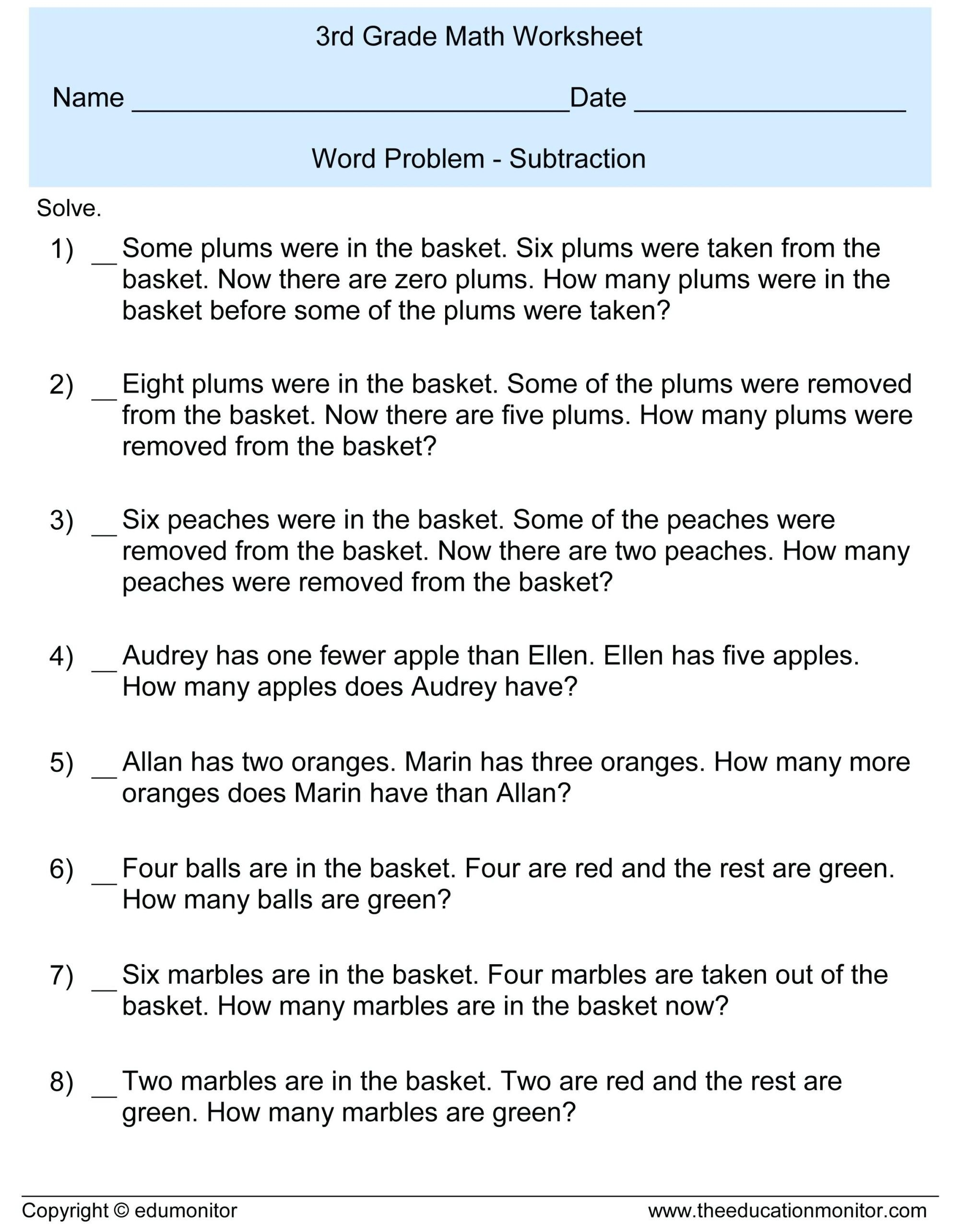 Third Grade Editing Worksheets 3rd Grade Subtraction Word Problems Free Math Worksheets and