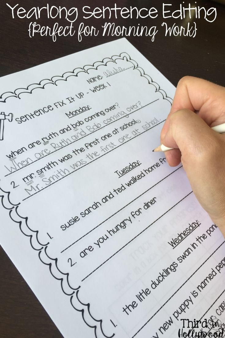Third Grade Editing Worksheets Daily Fix It Sentences Year Long Editing Practice