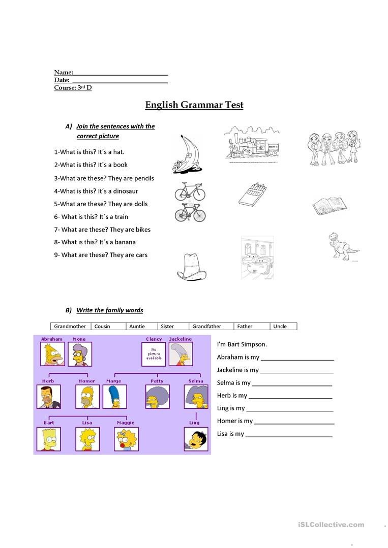Third Grade Grammar Worksheets 3rd Grade Evaluation English Esl Worksheets for Distance