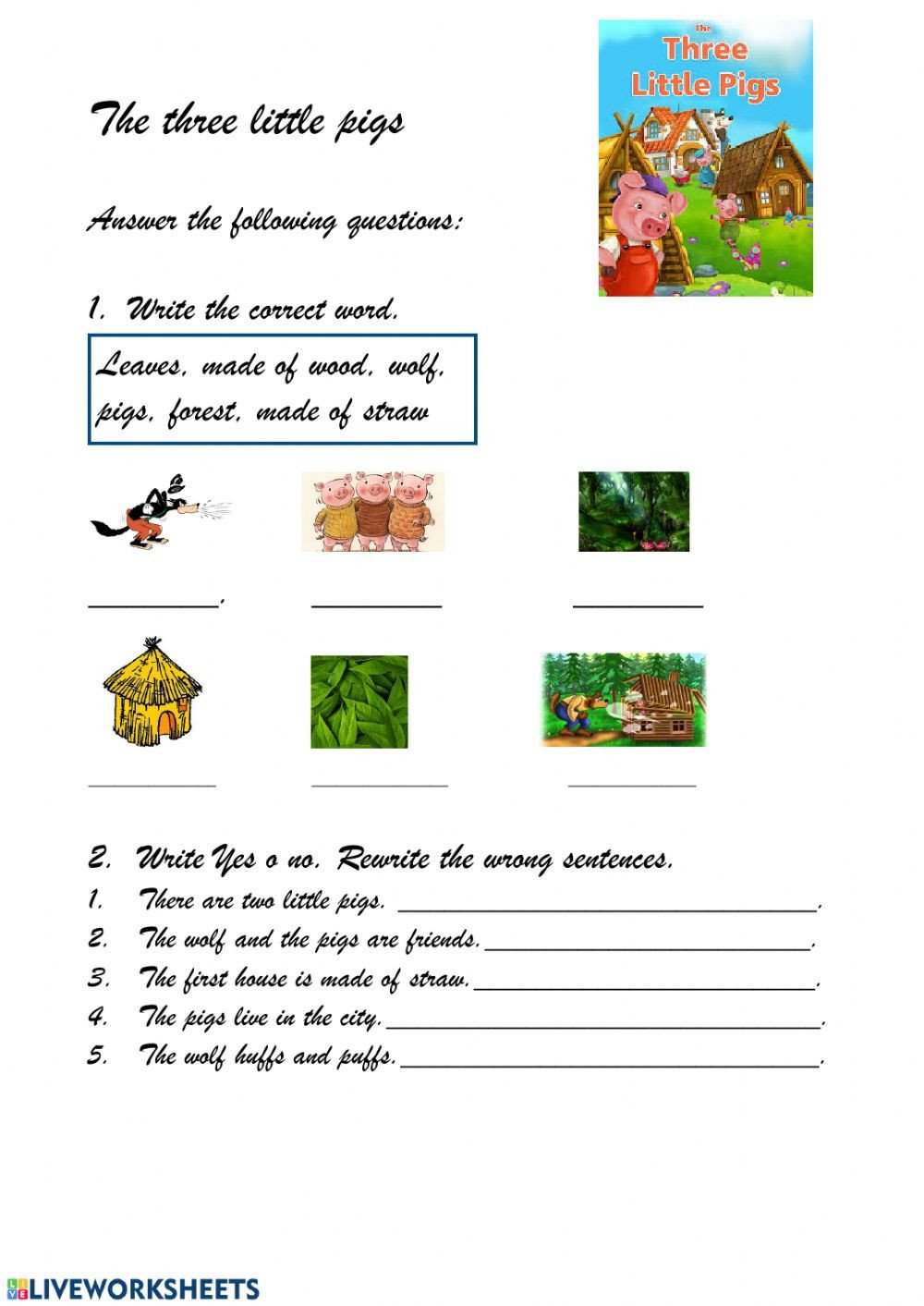 Three Little Pigs Worksheets the Three Little Pigs Interactive Worksheet