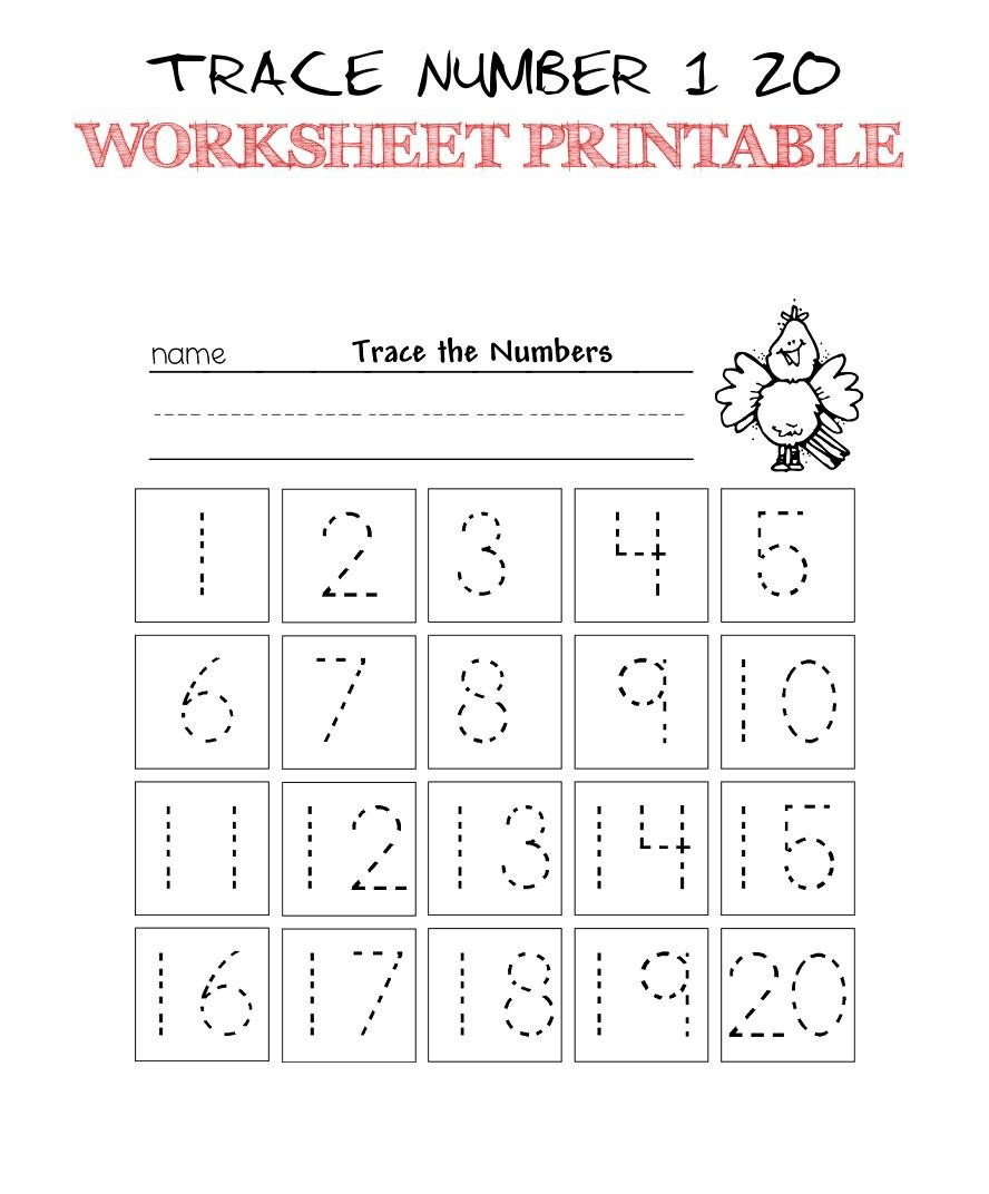 Tracing Numbers 1 20 Worksheets Trace Number 1 20 Worksheet Printable Trace Numbers 1 20