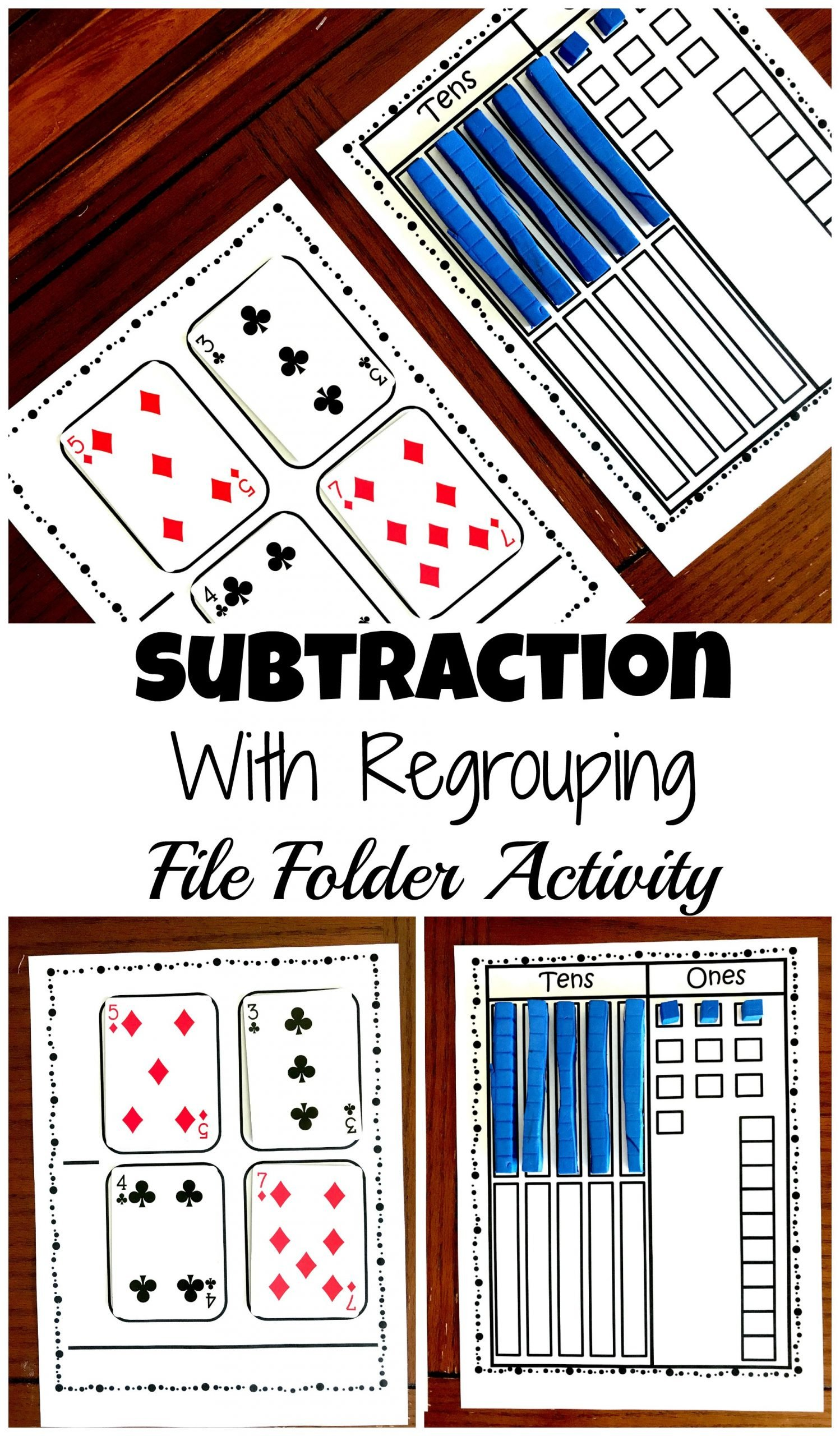 Trade First Subtraction Worksheet Grab A Free Subtraction with Base Ten Blocks File Folder