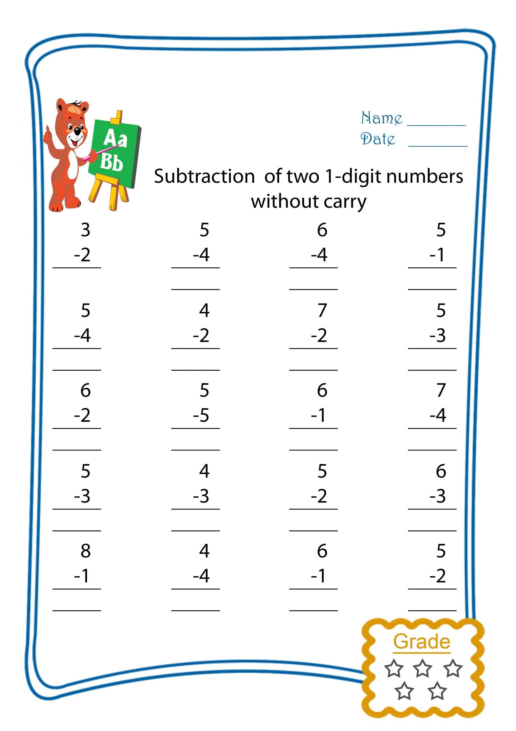 Trade First Subtraction Worksheet Subtract Two 1 Digits without Trading Freebie This is A