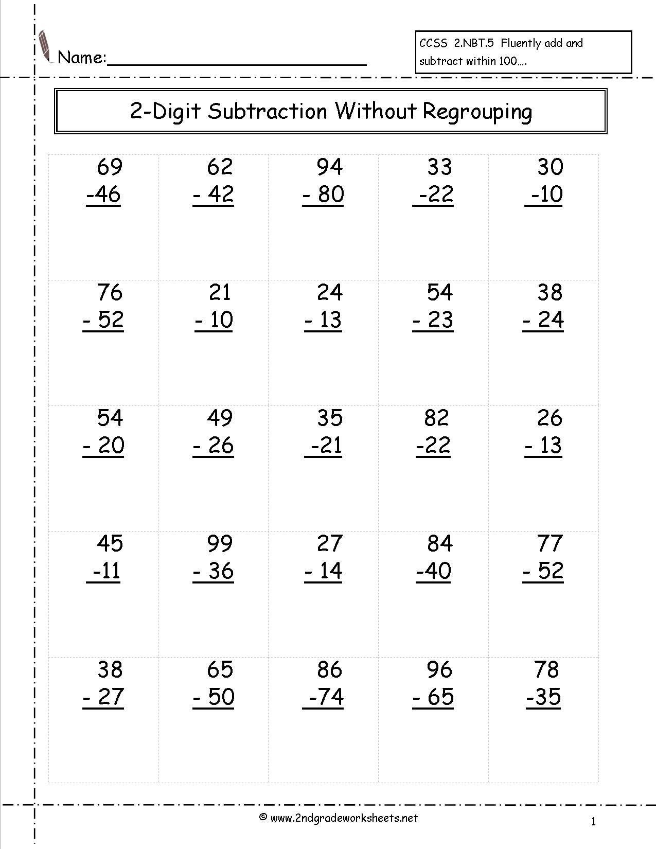 Trade First Subtraction Worksheet Two Digit Subtraction without Regrouping Worksheet