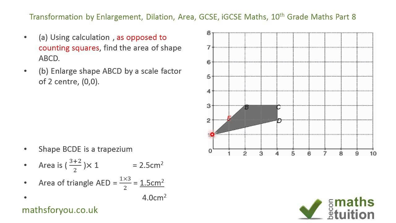 Transformations Math Worksheets Transformation by Enlargement Dilation area Gcse Igcse Maths